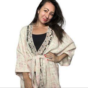 Anthropologie Beautiful Stories Kimono One Size boho chic tie dye beaded